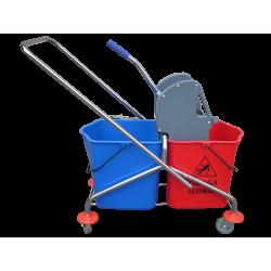Wózek dwuwiaderkowy chromowany 2x23l z prasą 501